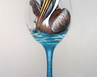 Pelican Wine Glass Hand Painted Wine Goblet (Custom Order)