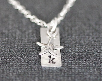 Sterling Silver Star Necklace with Initial, Dainty Tiny Starfish, Small Sterling Silver Bar, Personalized