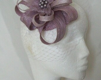 Heather Mauve Dusky Lilac Sinamay Loop and Veil Fascinator Mini Hat - Derby or Ascot - Made to Order