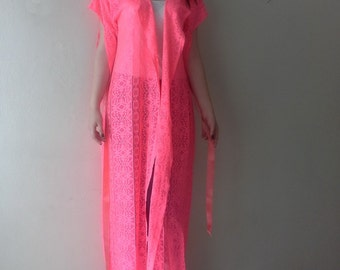 Neon Pink Robe Maxi Dressing Gown Coral Pink Wedding Robes Large Size