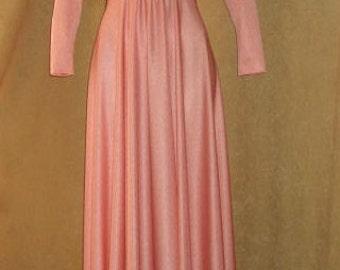 Maxi Dress Peach V Neck 70s Vintage