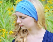 Headband Adult Turquoise Head Wrap for Women Plain Headscarf Solid Headwrap Sweat Headband Sports Hair Band Wrap Bandana (#1111) M