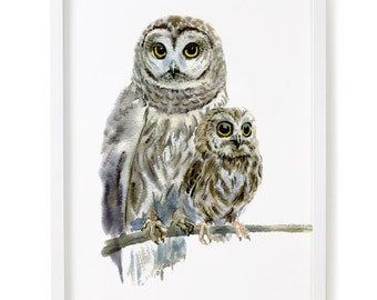 Owl, Owl Print, Woodland Decor, Nursery Art, Nursery Decor, Owl Watercolor Print, Owl Decor