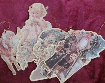 Four Christmas Die Cut Ornaments, Santa and Victorian Children, Ornate 1980s Era