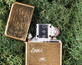 Come on baby, light my fire...Custom Engraved Brass Refillable Metal Lighter....Personalized for Free