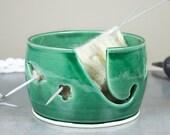 Ceramic Yarn Bowl Emerald Green, Wheel Thrown knitting bowl, flower and leaves Holes for multiple balls of yarn, knitter gift MADE TO ORDER