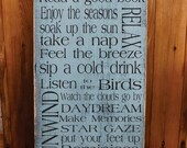 The Original  Porch Rules Custom primtive rustic Vintage Style Typography Word Art Sign
