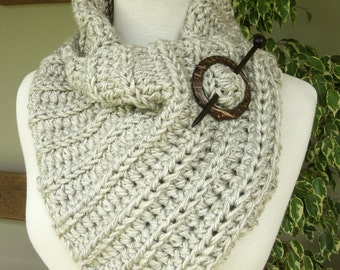 Chunky Gray Cowl Scarf with Shawl Pin - Crochet - Winter Scarves