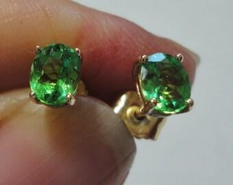 Green Garnet Tsavorite Garnet Stud Earrings in Solid 14k Yellow Gold Vintage AAA Green Garnet Studs