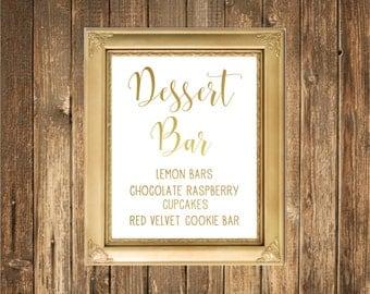 REAL Gold Foil Wedding Sign-Dessert Bar Sign-Gold Foil Printed Wedding Signs