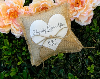 Burlap Ring Bearer Pillow Personalized Ring Bearer Pillow Ivory Heart Happily Ever After Shabby Chic Rustic Country Wedding Initials Pillow
