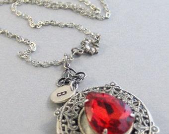 Victorian Ruby,Ruby Necklace,Ruby Locket,Ruby Jewelry,July Birthstone,Ruby Birthstone,Flower,Initial,personalized jewlery,customized jewelry