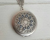Vintage style Locket Necklace - Vintage Antique silver Ornately Decorated Pendant Jewelry - christmas gift - friends - family