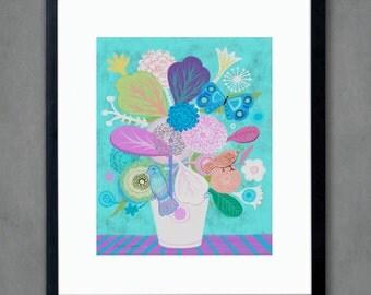 Dream Flowers- Fine Art Print. Vase of flowers, art painting flowers, bohemian, folk, funky, naive, primitive.