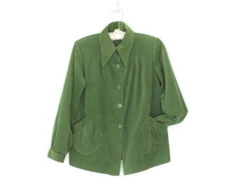 60s Corduroy Jacket * 1960s Smock Jacket * Moss Green Blazer * Small