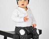 Knee Patch Leggings | Chalkboard | Sizes 3 Months to 3T | black and white, monochrome, baby boy leggings, pants, baby pants, boys pants