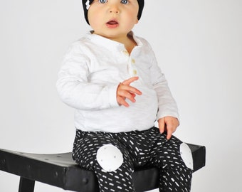Knee Patch Leggings | Chalkboard | Sizes 3 Months to 3T | black and white, monochrome, baby boy leggings, pants, baby pants, boys pants