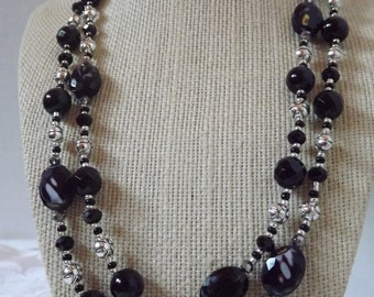 Faceted Black and Silver Necklace
