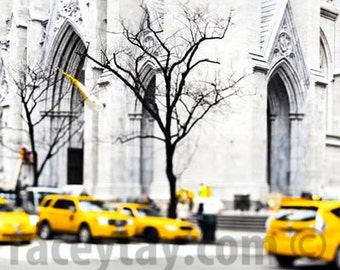 NYC Yellow Taxi, New York Photography, Yellow Cab, Black White New York Prints, Office Decor, New York City Print