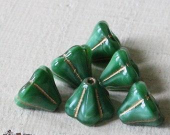 Czech Glass Flower Beads - Jewelry Making Supplies - 7x9mm (25 Beads) Malachite Green With Gold Decor