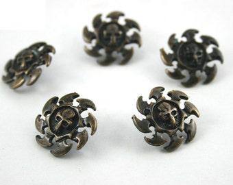 10 pcs.Zinc Antique Brass Metal Skull Rowel Head Metal Rapid Rivet Stud Conchos Decor Diy Crafts Fashion Accessories Sizes 20 mm. SK N20 31