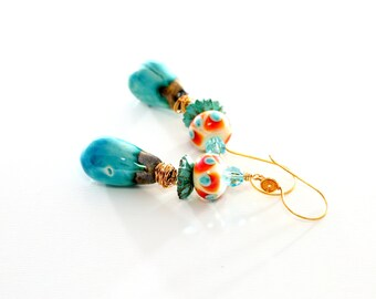 Turquoise Artisan Glass Bead Earrings. Ceramic Headpins. Boho Gypsy Dangle Earrings. Lampwork Jewelry.