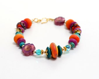 Southwest Glass Bead Bracelet. Turquoise Coral Lavender Lampwork Bracelet. Boho Gypsy Rustic Bracelet. Lampwork Jewelry.