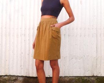 Vintage Dries Van Noten 1990's Caramel Minimalist High Waisted Cotton Pocket Knee Length Skirt M 31