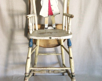 Antique High Chair, Sheboygan Wisconsin, Folk Art, Hand Painted, Baby Chair, Figurative, Female Portrait, Wooden, Seating,Feeding,Chip Paint