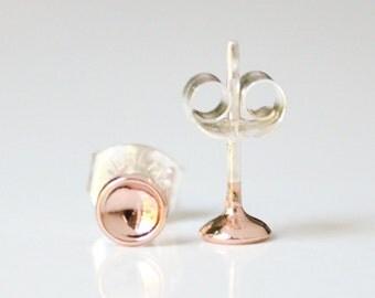 Tiny Rose Gold Moon Stud Earings - Pink Gold Hemisphere Earrings - Second Hole Studs - Lightweight Everyday Earrings - by HookAndMatter