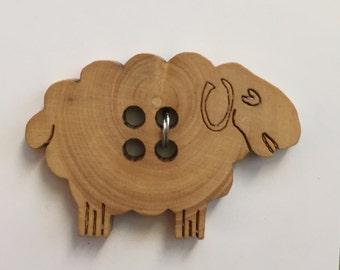 Wood Lamb Sheep Ewe Button 4 Hole Sew Through by JHB Style #25213