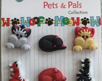 """Cat Buttons Pets & Pals Collection, """"Cool Cats"""" by Buttons Galore Style #PP103, Carded Set of 6, Shank Back Buttons, Sewing, Crafting"""