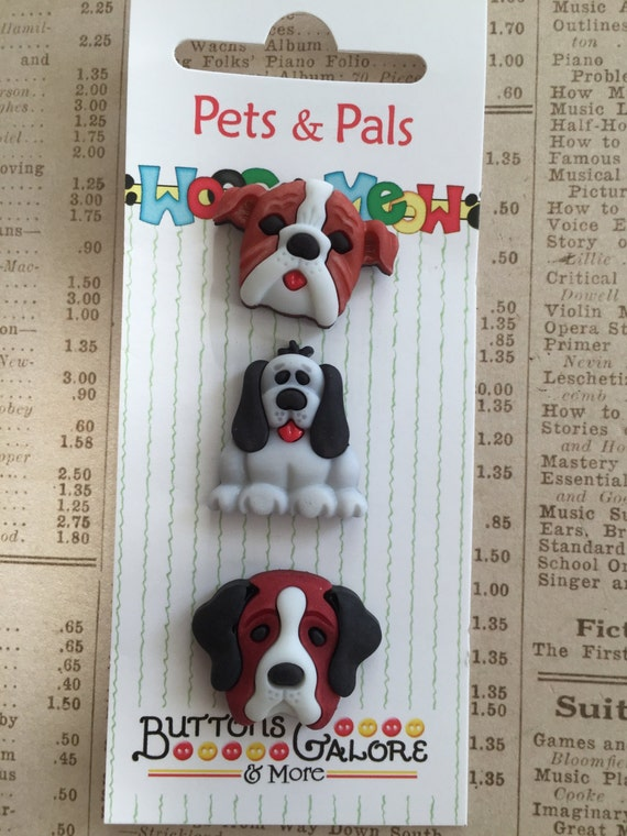 Dog Buttons, Pets and Pals Collection by Buttons Galore, Carded Set of 3, Style WPP123, Dogs