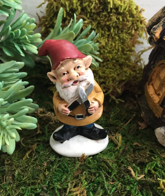Mini Garden Gnome With Garden Shears Red Hat and Gold Jacket,  Fairy Garden Accessory, Garden Decor, Miniature Gardening