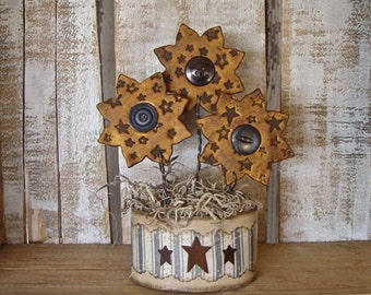 Country Primitive Grubby Polymer Clay Vintage Button Sunflowers with Rustic Star Texture Arrangement in Oval Decoupage Flower Pot SMALL SIZE