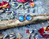 Whispers of the Moon ~ Sterling Silver 5mm Handcrafted Earrings featuring Rainbow Moonstone - Post Earrings - Stud Earrings - Boho Bohemian