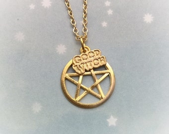 Pentacle Good Witch necklace, in gold or silver tone