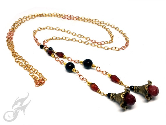 Victorian Style LARIAT Necklace or Sash Belt ~ Brass and Copper Cable Chain w/ Faceted Black Onyx, Carnelian & Mookite Gemstone Beads #N0663