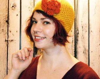 Beanie Hat, Crochet Beanie, Mustard Yellow with Terra Cotta Red Flower, Womans Accessories, Winter Hat, Womans Hat, Teen Hat, Beanie Hat