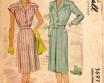 1940s Yoked Day Dress Pattern - Vintage McCalls 5697 - Bust 40