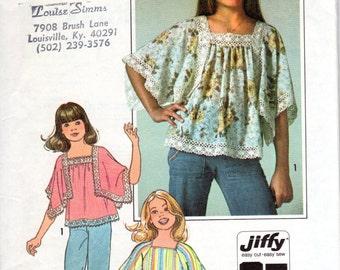 1970s Girls Peasant Blouse - Vintage Pattern Jiffy Simplicity 7831 - Size 8 10