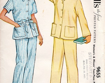 1950s Pajama Set Pattern - Vintage McCall's 9655 - Bust 32