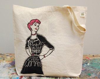 Little Black Dress Market Tote - screenprint Tote Bag