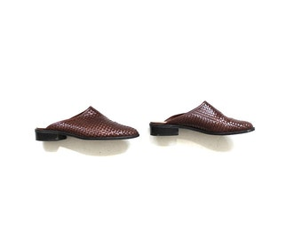 Vintage Leather Mules 9.5 / Brown Leather Mules / Leather Clogs / Leather Slip Ons