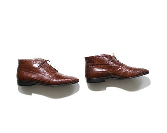 Vintage Ankle Boots 8 / Whiskey Leather Boots / Lace Up Booties / Italian Boots