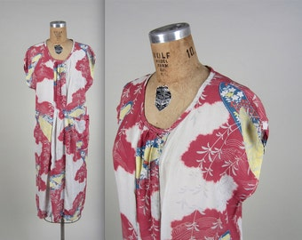 1920s style japanese print dress • vintage 20s dress • novelty print summer dress