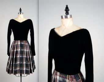 1960s plaid evening dress • vintage 60s dress • velvet party dress