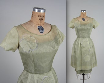 1950s illusion organza dress • vintage 50s dress • sheer sheath dress