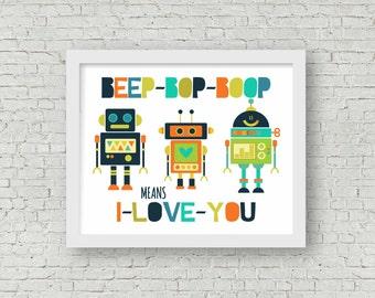 Robot Printable-Boys Room-Boy Nursery-Boy Playroom Printable-Instant Download-Multiple Sizes Included