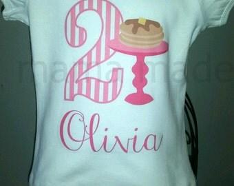 Pink Pancake Birthday Shirt or Bodysuit Pancake Party Shirt Pancake Birthday Number Shirt,Girls birthday shirt, girls pancake birthday shirt